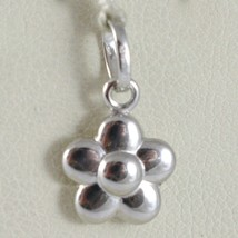 18K WHITE GOLD ROUNDED FLOWER DAISY PENDANT CHARM 17 MM SMOOTH MADE IN I... - $57.00