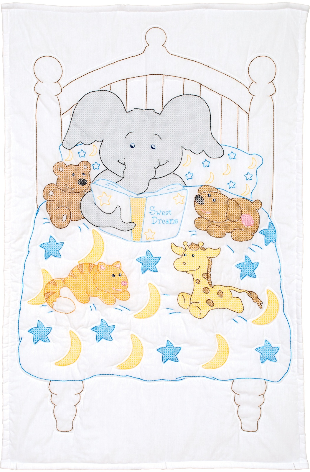 "Primary image for Jack Dempsey Stamped White Quilt Crib Top 40""X60""-Bedtime Stories"