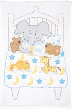 "Jack Dempsey Stamped White Quilt Crib Top 40""X60""-Bedtime Stories - $13.96"