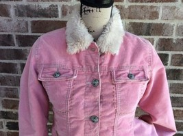 Gap Corduroy Sherpa Jacket Pink Distressed Girl's 14 16 XXL Trucker Flee... - $19.75