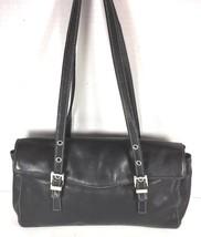 Perlina Black Leather Flap Satchel Shoulder Bag - $34.91