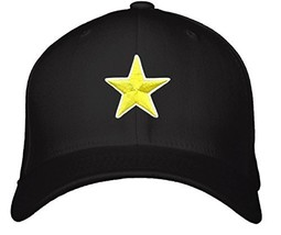 Yellow Star Hat - Adjustable Black Cap - $15.79