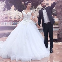 Gorgeous Ball Gown White Tulle Wedding Dress Long Sleeves Lace Appliques - $189.99