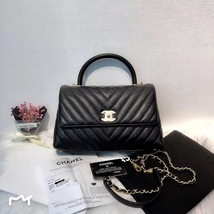 BRAND NEW AUTH CHANEL SMALL COCO HANDLE GHW CHEVRON CAVIAR BLACK BAG GHW