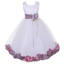 White Satin Bodice Layers Tulle Skirt Lavender Flower Ribbon Brooch and Petals - $48.00