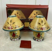 Christmas Lenox Tea Light Lamps Set Cardinal Birds Winter Greetings Ever... - $49.45