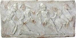 Battle Between Greeks and Amazones Replica Wall Plaque Sculpture - $217.79