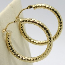 18K YELLOW GOLD CIRCLE HOOPS TUBE TWISTED HAMMERED EARRINGS 25 MM, MADE IN ITALY image 2