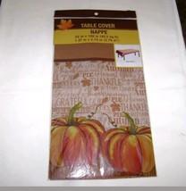 Table Cover Nappe 1 pc Grateful Pumpkins 54 x 108 Rectangle Shape - $8.59