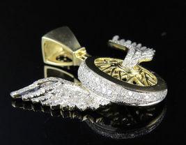 10K Yellow Gold Plated 925 Silver Flying Wheels Logo Men's White Diamond Pendant - $164.99