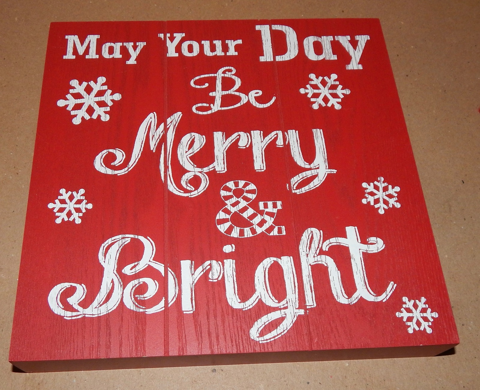 """Christmas Square Wood Sign Decor 9"""" x 9"""" x 1 5/16"""" Red Be Merry & Bright 151W"""