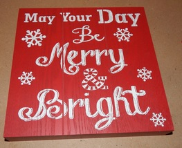 "Christmas Square Wood Sign Decor 9"" x 9"" x 1 5/16"" Red Be Merry & Bright... - $4.49"