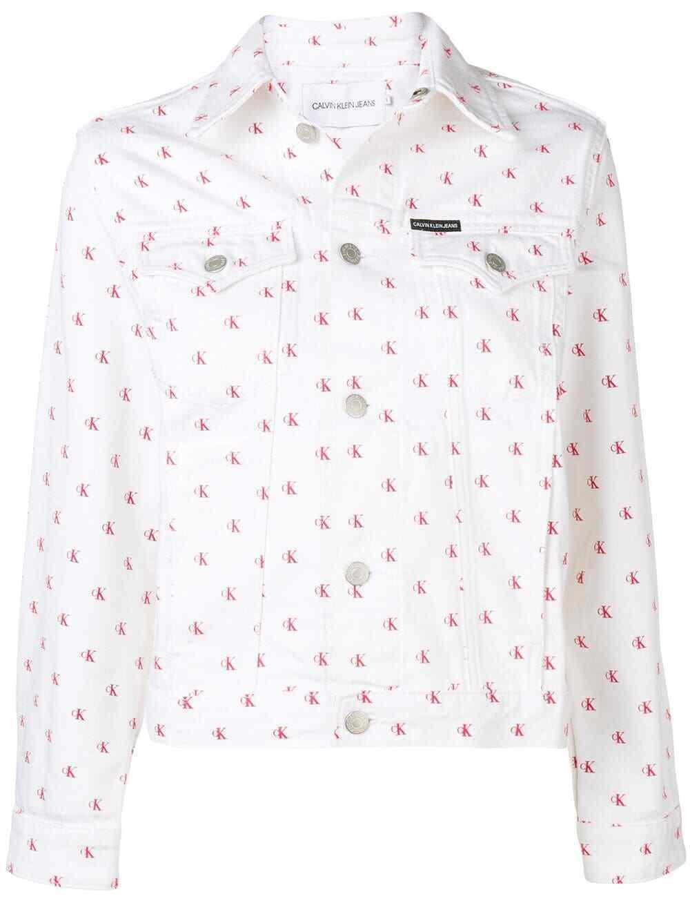 Calvin Klein Jeans Cotton Monogram Trucker Jacket, White\Red Monom, Size L, $168 - $79.19