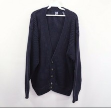 Vintage 90s Gap Mens XL Full Button Ribbed Knit Cardigan Sweater Navy Blue - $39.55