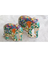 Elephant Statue figurine wooden hand painted gift decor baby and mother - $28.71