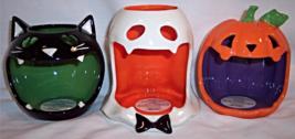Bath & Body Works Mini 1.3 oz Candle Holder Set Halloween Cat Pumpkin Ghost - $59.99
