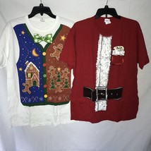 Lot of 2 Christmas Tshirts Mens Size Large Gingerbread Vest Santa Red White - $13.30