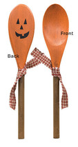 Country JACK O LANTERN WOOD SPOON Desk Autumn Thanksgiving Farmhouse Kit... - $17.09