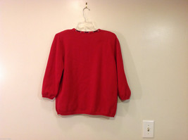 Alfred Dunner Red 3/4 Sleeve Sweater USA Flag Imitation, Size M, 100% cotton image 2