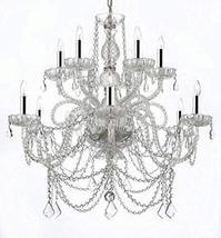Murano Venetian Style All-Crystal Chandelier W/Chrome Sleeves! - $304.77