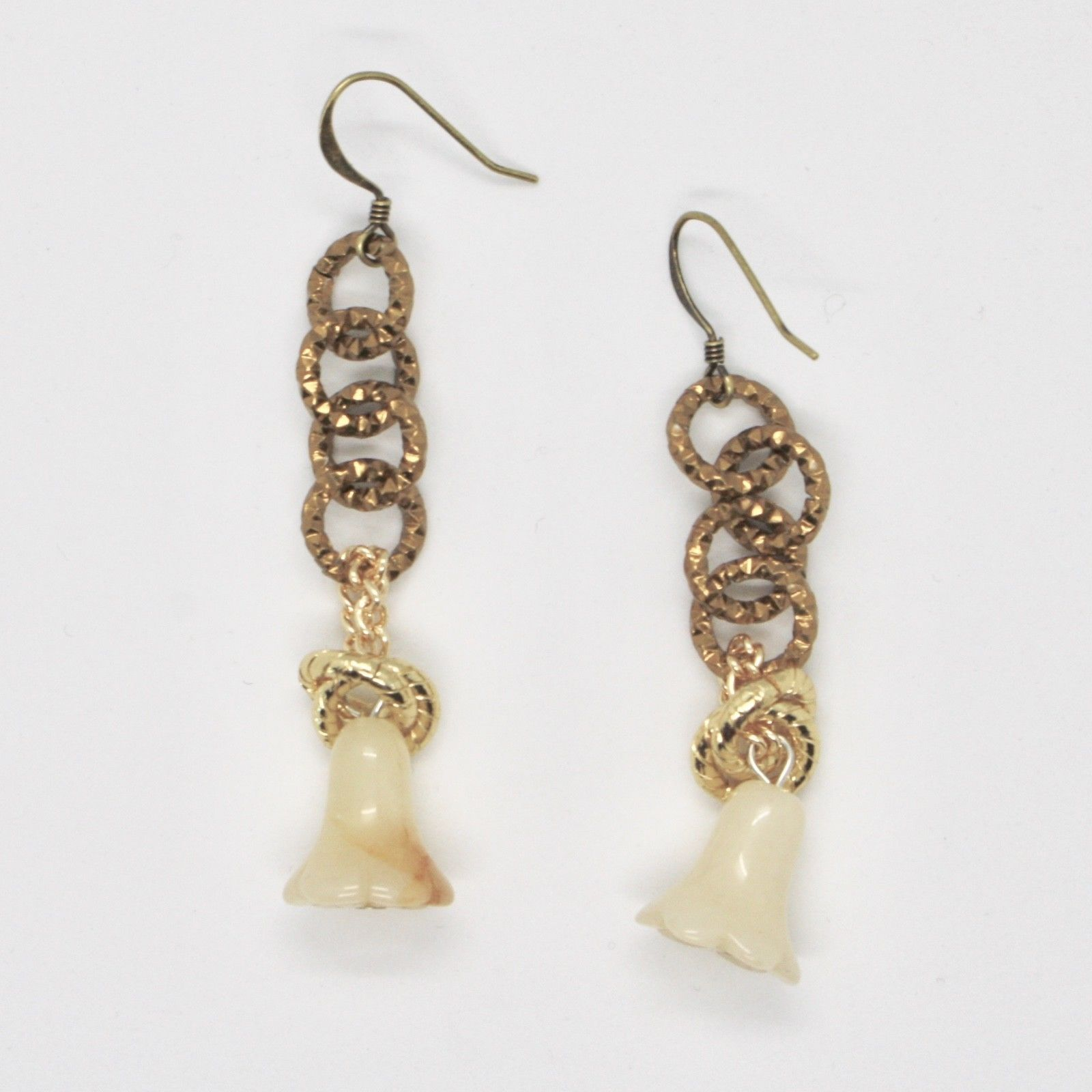 DROP EARRINGS ALUMINUM LAMINATED YELLOW GOLD WITH GIADA IN BELLFLOWER
