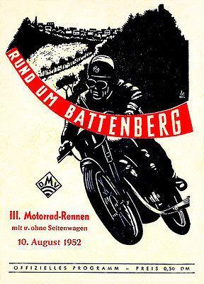 Primary image for 1952 Rund Um Battenberg Motorcycle Race - Promotional Advertising Poster