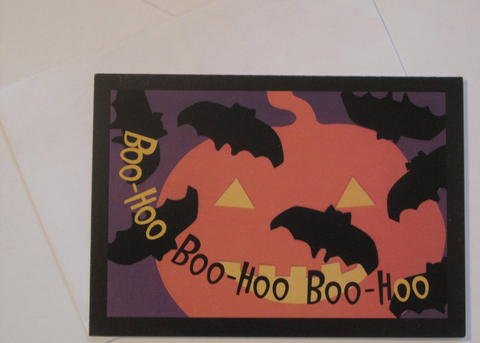 Primary image for Halloween Note Cards Boo-Hoo Boo-Hoo Pumpkin and Bats, Set of 10, Blank Interior