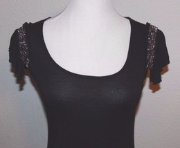 WHITE HOUSE BLACK MARKET SHIRT BLACK Sequins CAP SLEEVE Women's SIze XX... - $11.50