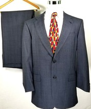 Hart Schaffner Marx Suit Size 42 Long 38 x 29 Steel Blue Windowpane 100%... - $51.44