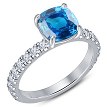 New Year Offer Cushion Cut Blue Sapphire 925 Pure Silver Wedding Engagem... - $69.49