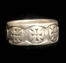 Vintage Iron Cross Sterling Silver Ring Size 12.25 Men Maltese Cross Ring  - $45.00