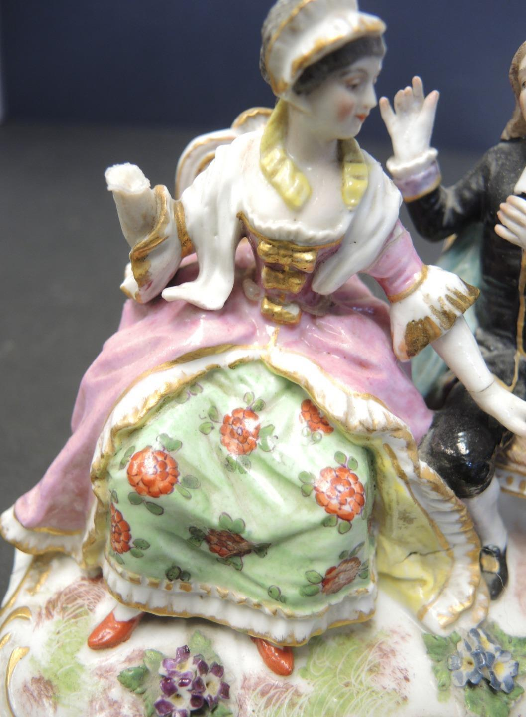 "Antique Meissen Courting Scene Figurine Crossed Swords ""A"""