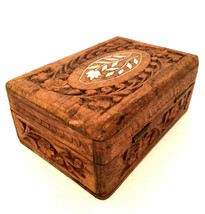 Vintage Trinket Jewelry Box Shell Inlay Hand Carved in India 5 inches Long  - $15.84