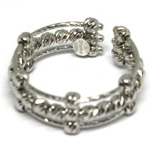 White Gold Ring 750 18K, Band, Spheres Faceted, 3 Wires, Shank Open image 3