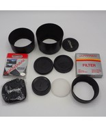 Lot of Camera Filters Lens Body Caps & Hood - $54.77