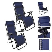 Lounge Chair Recliner Sun Patio Pool Beach Outdoor Folding Chair-1Pair N... - $307.00
