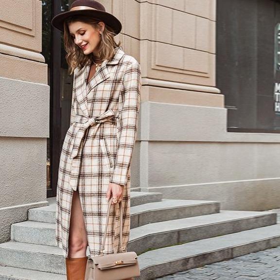 Twear long sleeve sashes coat women elegant autumn winter plaid blazer 2020 office ladies pocket