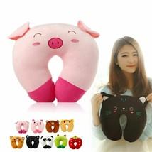 1x U Shaped Cotton Plush Headrest Pillow Cartoon Animal Pig Cat For Trav... - $153,54 MXN
