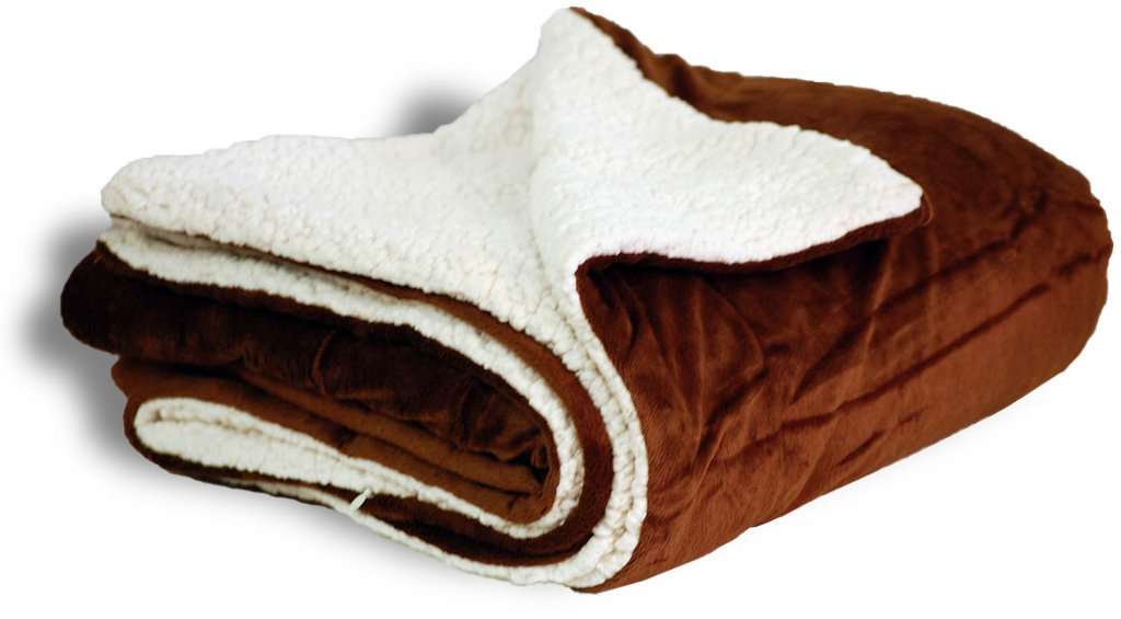 "Case of [12] Micro Mink/Sherpa Blanket 50"" x 60"" - Chocolate"