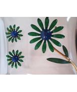 RETRO GREEN DAISIES BoHo Peace Flower Hippie Youth Culture Brooch Earrin... - $28.88
