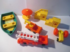 Vintage Fisher Price Little People Boat Firetruck Tractor Stairs Towtruc... - $12.86