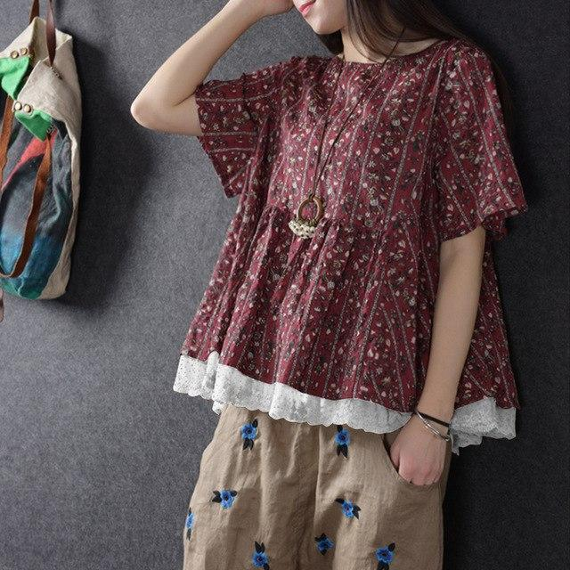 2018 Summer ZANZEA Women O Neck Short Sleeve Floral Print Lace Crochet Blouse Ca