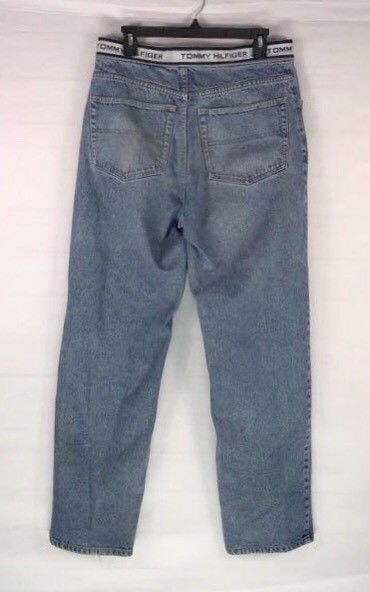 685698df Vintage Tommy Hilfiger Jeans Spell Out Logo Waistband Stripe Mens 32 x 33  Baggy
