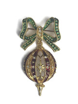 Vintage Christmas Ornament Green Bow Dangle Pin Brooch Costume Jewelry U... - $23.33