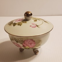 Vintage Lefton lidded 3 footed trinket box candy dish #4053   - $22.00