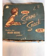 Vintage Anchor Hocking Serva-Snack 8 Piece Clear Glass Grape Pattern Set - $27.08