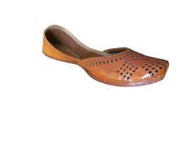 Women Shoes Jutties Traditional Indian Leather FlipFlops Brown Mojari US 5.5-7.5 - $32.99