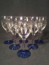 Set Of Six Wine Glasses With Coloured Base And Etched Design (ref W288) - $22.13