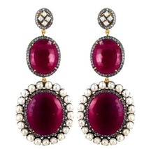 New Pearl 14k Gold Pave Diamond 925 Silver Ruby Gemstone Dangle Earrings... - $1,866.15