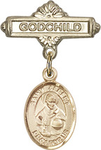 14K Gold Baby Badge with St. Albert the Great Charm Pin 1 X 5/8 inch - $425.00